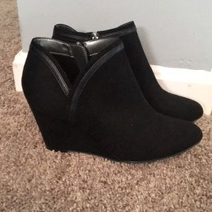 Black suede wedge ankle booties